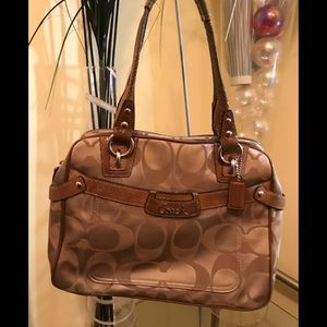 COACH monogram brown Fabric & embossed Leather